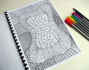 PDF Coloring Page, Zentangle Inspired, Abstract Coloring Pattern, Page 21
