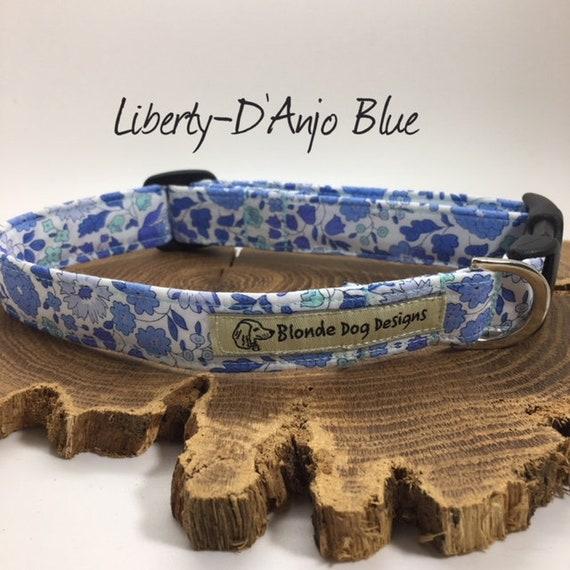 Liberty Dog Collar, Liberty London, Floral Dog Collar, Pretty Dog Collar, D'Anjo Blue, Dog Collar UK