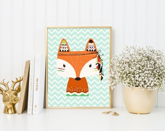 Nursery Fox Bedroom Baby Decor, Woodland Fox Decor, Tribal Nursery Boy Decor, Tribal Kids Bedroom Decor, Fox Art Print, A-1172