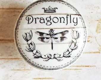 Dragonfly Knobs Drawer Pulls, Classic Black and White Cabinet Pull Handles, Shabby Chic Dresser Knob Pulls, Cottage Chic,