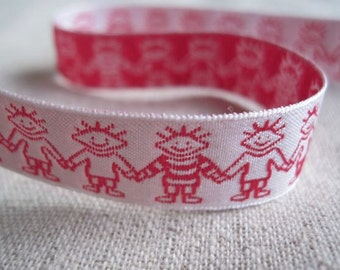 Friends Holding Hands jacquard ribbon in RED