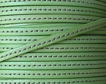 Flat leather green pastel with stitching, 5 mm, sold by 20 cm