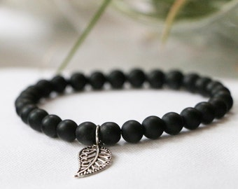 Matte Black Obsidian Mini Stacker Bracelet