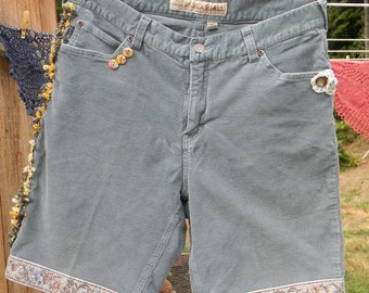 Embellished Deep Sage Corduroy Walking Shorts, Size 14
