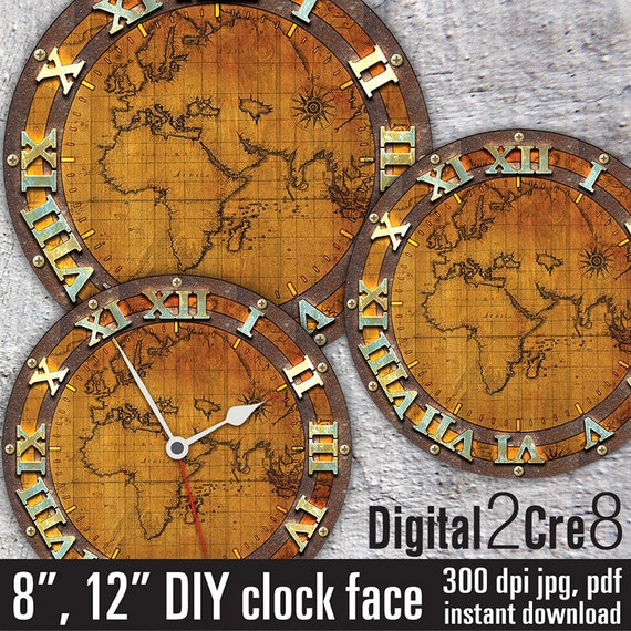World map antique large clock face 12 and 8 digital downloads world map antique large clock face 12 and 8 digital downloads diy printable image iron on transfer wall decor crafts jpgpdf from gumiabroncs Images