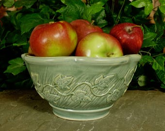 Handmade green stoneware ceramic garden inspired serving bowl with ivy