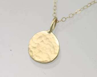 "Hammered Disc Necklace, sm. in 14k Gold (18"")"