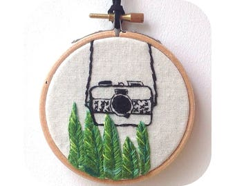Jungle wall hoop, Camouflage camera jungle wall hoop, wall art, Hand Embroidered plant, wall art, plant hoop, fibre art, tropical plant