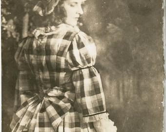 vintage photo 1914 Bo Peep Lady Check Dress Bonnet turns Over shoulder From Back