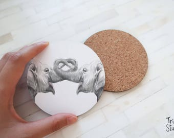 Elephants In Love Coaster - Cute  Simple Drinks Mat - Zoo Wedding Bridal Shower - Round Coaster Set - Sweet Animal Lover Gift Idea - Hostess