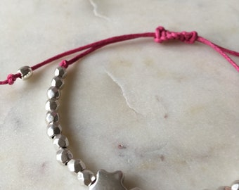 Wish upon a Star bracelet • silver star • pink cord • customisable • fully adjustable