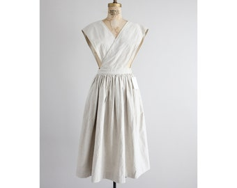 beige linen dress | Ralph Lauren dress | apron dress