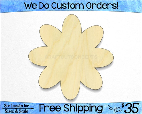 Daisy Flower Petals - Large & Small - Pick Size - Unfinished Wood ...