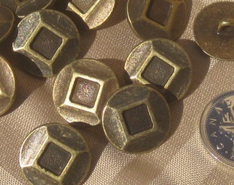 """Set 12 Antiqued Brass Metal Vintage Buttons with Recessed Square 19mm 3/4"""""""