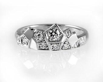 Unique engagement ring, crown engagement ring, modern wedding ring, unique diamond wedding band, diamond wedding ring