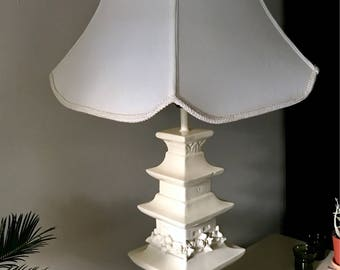 Vintage Chinoiserie Plaster Tiered Pagoda Table Lamp with Shade