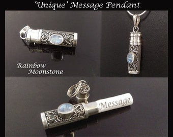 Message Pendant, 013, Unique Balinese Message Pendant, Rainbow Moonstone Gem, Sterling Silver | Gifts for Women, Silver, Necklace, Jewelry