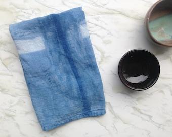 Blue and white flour sack dish towel, hand dyed indigo kitchen towel, cotton tea towel, shibori, naturally dyed tea towel