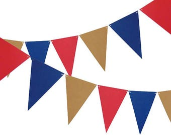 4th of July Banner, Pennant Banner Party Decor, 6ft Photography Prop, Triangle Flag Bunting Banner - No806