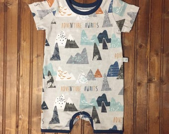 Baby Toddler boy tank top mountain adventure romper one piece coverall jumpsuit shorts