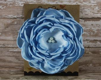 34 Colors Large Satin Flower Pin, Light Blue Satin Flower Pin