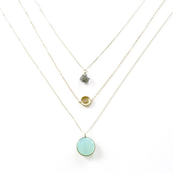 Mint Blue Chalcedony, Crystal Pendant, and Gold Coin Layer Necklace