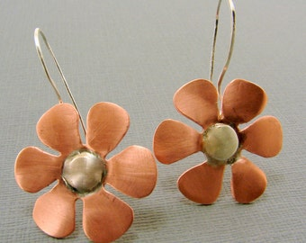 Copper and Sterling Silver Mixed Metal Flower Earrings
