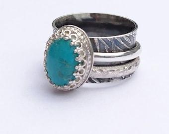 Sterling silver handmade chrysocolla spinner ring, hallmarked in Edinburgh