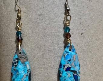 Gemstone Earrings / Sea Sediment Gemstone Earrings / Natural Crystal Earrings / Blue Crystal Drop Earrings /  Czech Glass Drop.