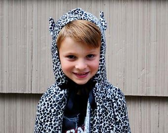 Cat Cape Leopard Costume Stretch Velvet Photographer Prop Halloween Make Believe Black White Animal Print