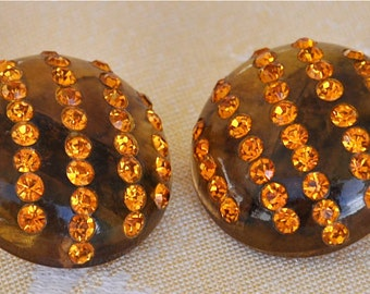 Vintage Apple Juice Lucite Button Earrings, Amber Rhinestones, Clip-On