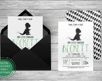 Dinosaur Birthday Invitation/ T Rex/ Dinosaur Party/ Dino Birthday/ Birthday Invitation/ Dinosaur Decorations/ printable