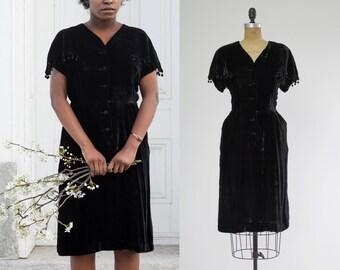 1930s black velvet dress by Gloria Swanson   1930s evening dress