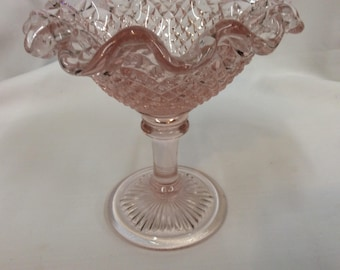 Vintage westmoreland pink diamond point ruffled edge compote bowl