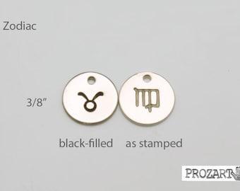 Zodiac charm, sterling silver Zodiac disc, personalized disc
