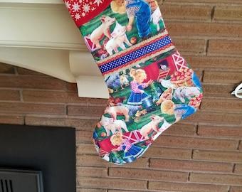 Christmas Stocking with Farm Animals Scene & Toddler Kids Print