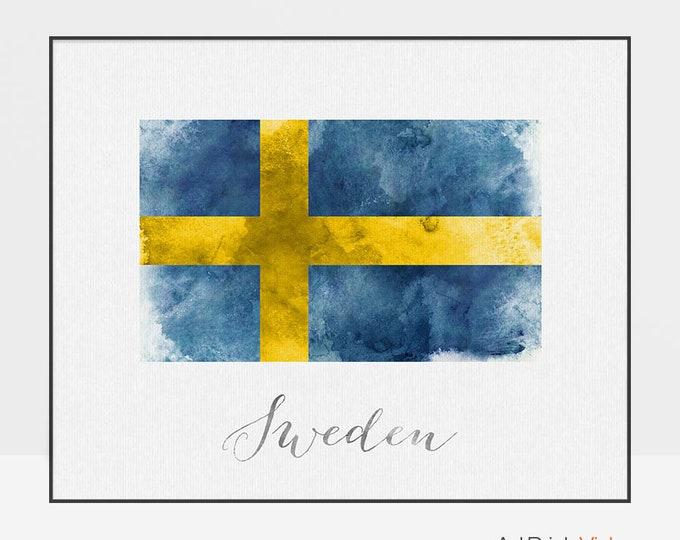 Sweden flag print, Sweden art poster, watercolor, Wall art, watercolor flag, typography art, office decor, Home Decor, Gift ArtPrintsVicky