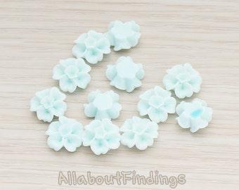 CBC138-LB // Light Blue Colored Morning Glory Flower Flat Back Cabochon, 6 Pc