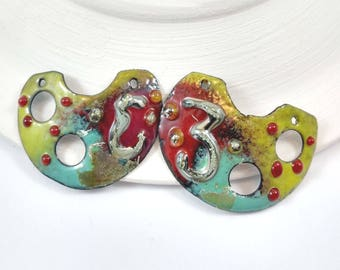 Enameled Copper Pendant Drops,Spring Fashion Handmade Jewelry Supplies,Boho style Earring components,OOAK Colorful Pendant Charms