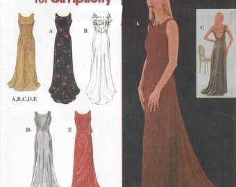 90s Womens Dramatic Back Draped Evening Gown with Train Simplicity Sewing Pattern 8946 Size 8 10 12 14 16 18 Bust 31 1/2 to 40 FF