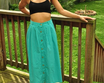 The Kourtney: 80s Vintage Teal Button Long Midi Skirt with Gold Buttons