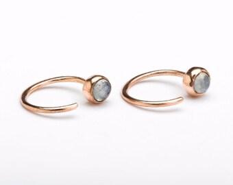 Dainty Moonstone Hug Hoops, Sterling Silver, Birthstone Earrings, Open Hoops, Minimalist Jewelry, Hand Made, Lunai, Gift for Her, EAR039MOO