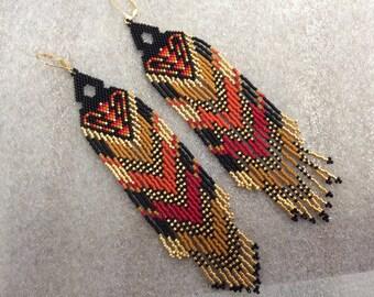 """Beaded Long Fringe Seed Beaded Earrings, """"In Your Dreams"""" Boho Style, Fractal Beaded Earrings, Statement Earrings"""
