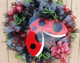 Summer Personalized Ladybug Deco Mesh Wreath