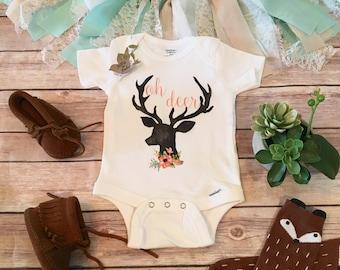 Oh Deer Onesie®, Baby Shower Gift, Baby Girl Clothes, Cute Baby Onesies, Rustic Baby Gift, Country Baby Gift, Baby Bodysuit, Hunting Onesies