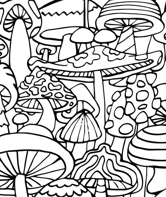 adult coloring page mushrooms printable coloring page for adults part of the hippie kitsch adult coloring book - Psychedelic Coloring Pages For Adults
