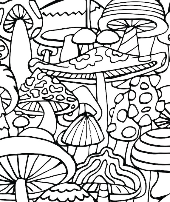 adult coloring page mushrooms printable coloring page for adults part of the hippie kitsch adult coloring book - Trippy Coloring Book Pages