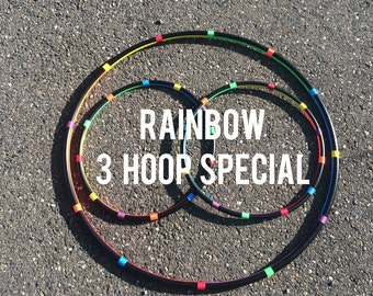 RAINBOW Lot Of 3 Hula HOOPS - 1 Collapsible or Push Button Body Hoop & 2 Mini Arm Hoops rainbow colorful poi