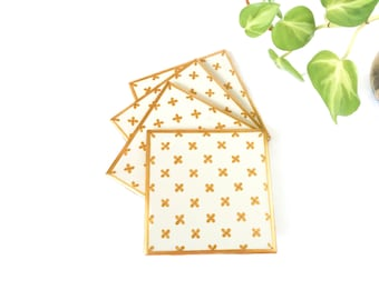 White and gold coasters, Gold Coasters Gold decor Gold coaster Victorian coaster, gilded Coasters Gold Tile Coaster Ceramic coaster