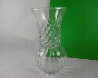 Clear Glass Flower Vase, Ribbed Swirl, Vintage Anchor Hocking Medium Bouquet Vase